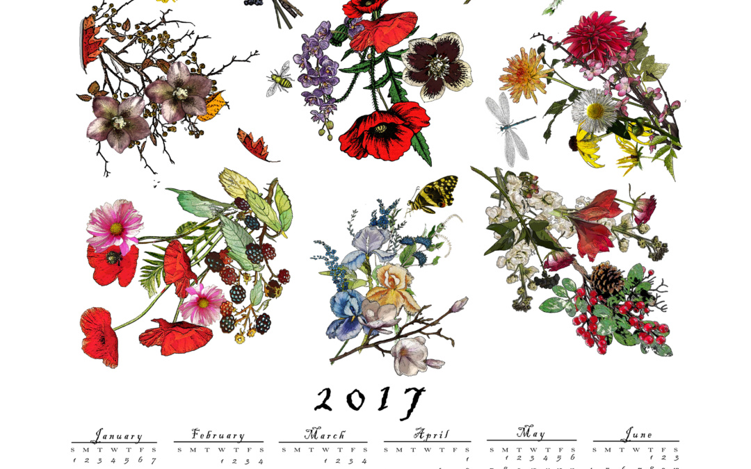 "Get your STUDIO TULLIA 2017 ""FLORA"" CLOTH CALENDAR while supplies last!"